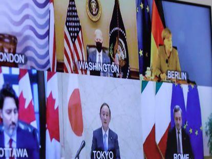 Jefes de Estado y de Gobierno del G7, en una reunión telemática celebrada a mediados de febrero.