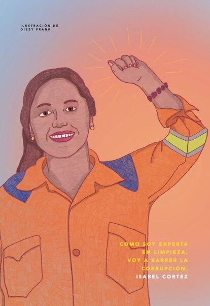 Ilustración de Isabel Cortez, barrendera en Lima que fue candidata a la elecciones al Congreso de Perú.