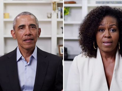Barack y Michelle Obama dando un discurso a través de YouTube durante este año.
