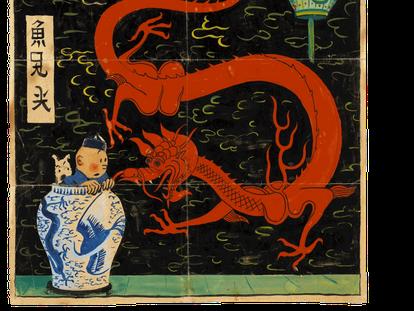 En 'El loto azul' aparece Tintín, en compañía de su perro 'Milú' y con túnica de seda y bonete chino, contemplando perplejo a un enorme dragón desde el interior de un jarrón de cerámica.