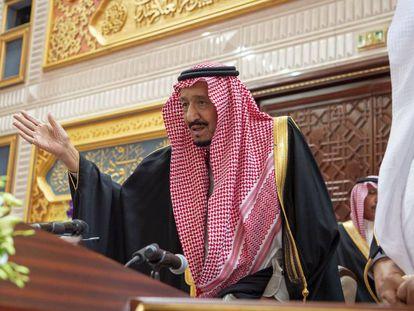 El rey saudí Salmán, este miércoles en la sesión anual del Consejo Consultivo (Shura).