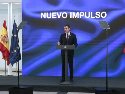 El presidente del Gobierno, Pedro Sánchez, durante la presentación del Plan de Recuperación, Transformación y Resiliencia de la Economía Española.
