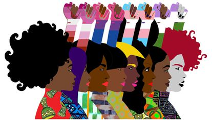 Imagen de un cartel reivindicativo de los derechos de las mujeres lesbianas, queers y bisexuales de Costa de Marfil diseñado por WAF, EmmaLInfoS  y TransD, tres organizaciones en defensa de este colectivo.