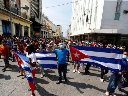 Manifestantes en las calles de La Habana, este domingo.