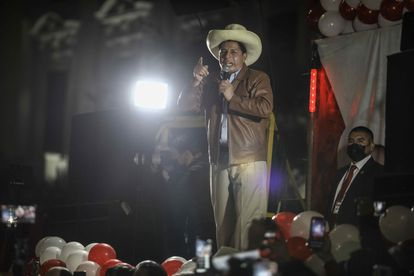 The leftist Pedro Castillo offers statements during a demonstration today, in Lima (Peru).  For the second consecutive week, two parallel marches show the deep division of Peru among those who denounce, without evidence, that there was
