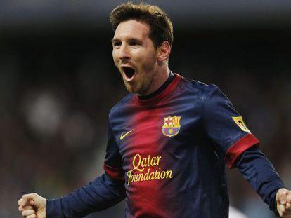 Leo Messi, celebra un gol contra el Málaga.