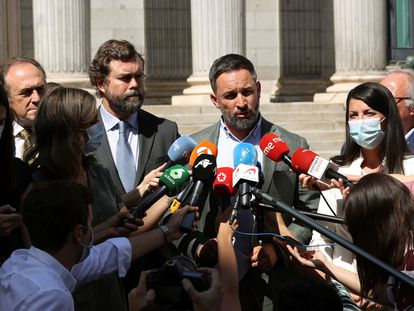 El presidente de Vox, Santiago Abascal, con los responsables de su grupo parlamentario, frente a la entrada del Congreso.