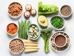 Food sources of plant based protein. Healthy diet with  legumes, dried fruit, seeds, nuts and vegetables.  Foods high in protein, antioxidants, vitamins and fiber. (Food sources of plant based protein. Healthy diet with  legumes, dried fruit, seeds, n
