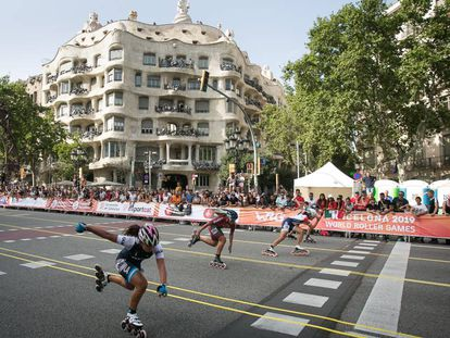 Competición de velocidad en los World Roller Games, el sábado en Barcelona.