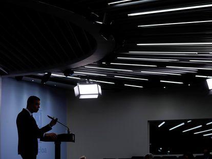 El presidente del Gobierno, Pedro Sánchez, en rueda de prensa tras la reunión del Consejo de Ministros, este martes en el Palacio de la Moncloa.