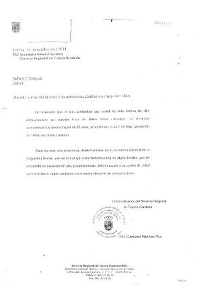 Carta remitida por la Secretaría General Técnica de la Tarjeta Sanitaria.