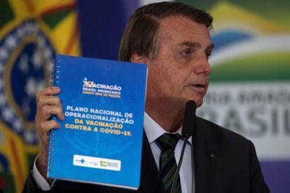 Jair Bolsonaro, durante la presentación del Plan Nacional de Vacunación contra la covid-19, en diciembre.