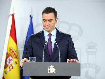 El presidente del Gobierno, Pedro Sánchez, durante una comparecencia el pasado lunes.