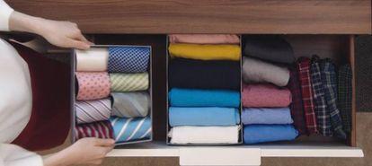 Así queda la ropa doblada y almacenada al estilo Kondo