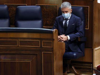 El ministro del Interior, Fernando Grande-Marlaska, durante la sesión de control al Gobierno celebrada este miércoles en el Congreso.