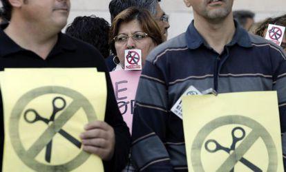 Protesta de funcionarios de justicia el pasado día 23.