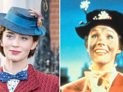 Emily Blunt y, a la derecha, Julie Andrews, ambas en el papel de Mary Poppins.