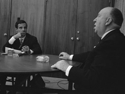 Truffaut y Hitchcock, en su entrevista en Los Ángeles en 1962.
