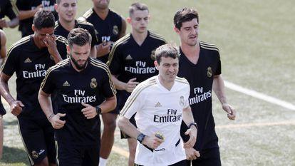 Grégory Dupont, en una sesión del Real Madrid en 2019.