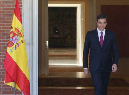 El presidente Pedro Sánchez, antes de reunirse con Susana Díaz este lunes en La Moncloa.