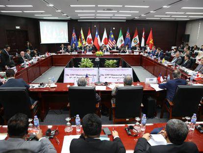 Ministros de comercio de los once países integrantes del Acuerdo Transpacífico en la ciudad de Danang (Vietnam) el 9 de noviembre de 2017.