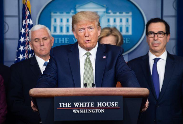 Donald Trump en una comparecencia sobre la crisis sanitaria.