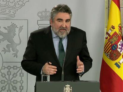 El ministro de Cultura y Deporte, José Manuel Rodríguez Uribes, durante su comparecencia en La Moncloa.