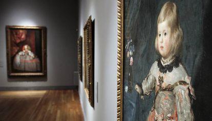 Algunos cuadros de la exposición 'Velázquez y la familia de Felipe IV' expuestos en 2013 en el Prado.