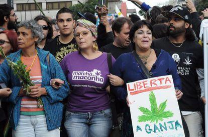 Una manifestación a favor de legalizar la marihuana en São Paulo, Brasil, el pasado 26 de abril