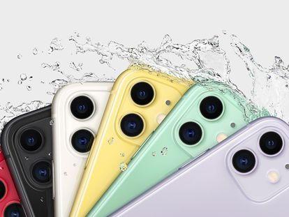 Anuncio de Apple del modelo iPhone 11 y su resistencia al agua.