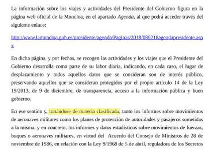 Respuesta de Presidencia a una solicitud de información presentada por EL PAÍS.