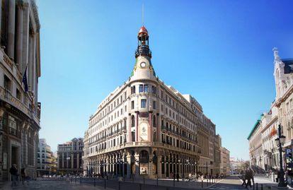 La majestuosa fachada del nuevo Four Seasons de plaza Canalejas.  