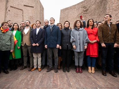 Dirigentes de PP, Vox y Ciudadanos, en la manifestación de Colón en febrero de 2019.