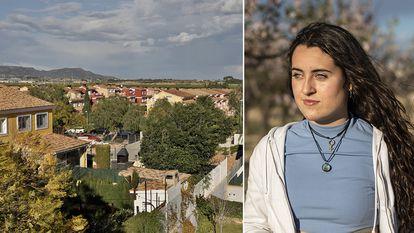 Arantxa, de 15 años, y una imagen de la zona en la que vive a las afueras de Valencia.