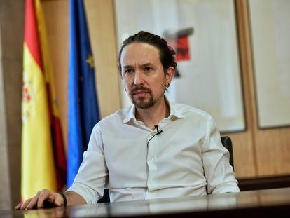 Pablo Iglesias durante la grabación del vídeo en el que anunció que se presentaba de candidato a las elecciones autonómicas de Madrid.