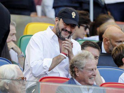 El ministro del Interior italiano, Matteo Salvini, durante el derbi Roma Lazio en Roma el 29 de septiembre de 2018.