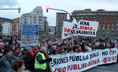 Manifestación de pensionistas en Bilbao.