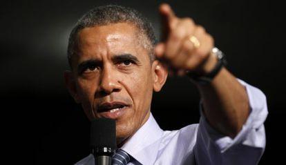 Barack Obama durante su visita en Indianapolis.