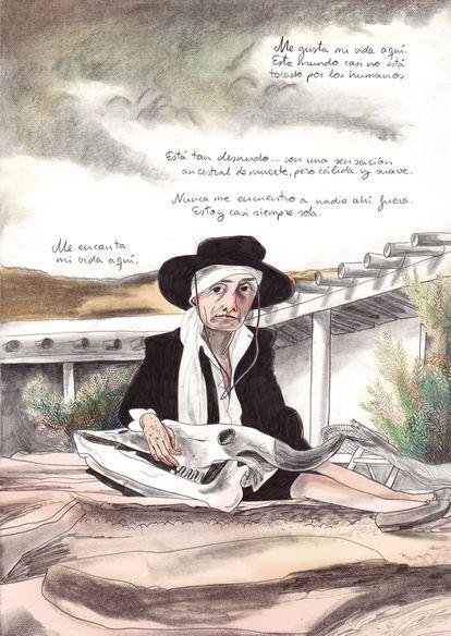 Página de 'Georgia O'Keeffe', de María Herreros, editado por Astiberri.