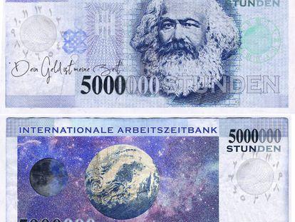 Billete del Banco Internacional de Tiempo con un valor de 5.000.000 de horas.