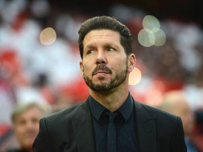 Cholo Simeone, entrenador del Atlético de Madrid, el pasado 27 de abril en partido que el Atleti disputó contra el Bayern, y que ganó 1-0, en el Vicente Calderón.