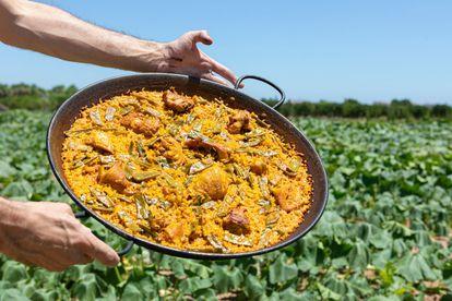 Paella valenciana típica.