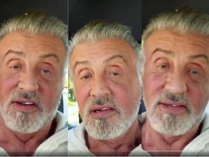 Capturas del vídeo con el que Sylvester Stallone ha saludado a sus fans desde sus cuentas oficiales de Twitter e Instagram y en el que muestra su cabello y barba canosos.