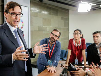 El ministro de sanidad Salvador Illa durante la rueda de prensa posterior al consejo de ministros en La Moncloa.