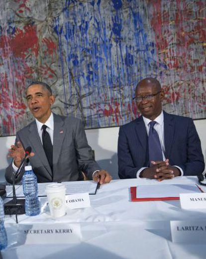 Barack Obama y el líder disidente cubano Manuel Cuesta Morúa, el pasado 22 de marzo en La Habana.