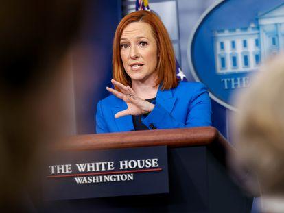 La secretaria de prensa de la Casa Blanca, Jen Psaki, en la sala de prensa, en Washington.