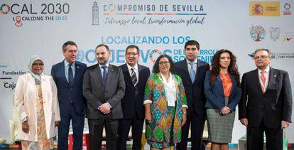 Autoridades presentes en el encuentro de la ONU 'Compromiso de Sevilla. Liderazgo social, transformación global.