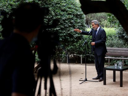El expresidente de la Generalitat Artur Mas, durante una rueda de prensa este martes en Barcelona.