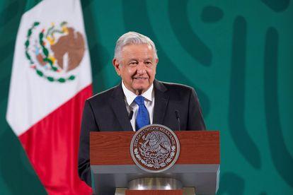 Andrés Manuel López Obrador durante su rueda de prensa matutina, en Palacio Nacional, este miércoles