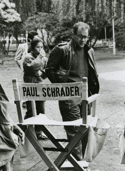 Paul Schrader en el rodaje de <i>Mishima.</i>